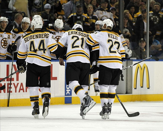 Oct 23, 2013; Buffalo, NY, USA; Boston Bruins left wing Loui Eriksson (21) is helped off the ice after being hit by Buffalo Sabres defenseman John Scott (not shown) during the third period at First Niagara Center. Bruins beat the Sabres 5-2. Mandatory Credit: Kevin Hoffman-USA TODAY Sports