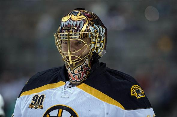 Jan 16, 2014; Dallas, TX, USA; Boston Bruins goalie Tuukka Rask (40) skates in warm-ups prior to the game against the Dallas Stars at the American Airlines Center. Mandatory Credit: Jerome Miron-USA TODAY Sports