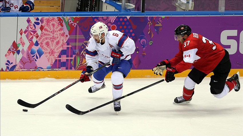 Patrice Bergeron skates for Team Canada in the Olympics