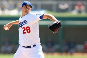 Jamey Wright pitches for the Dodgers in 2012. Photo: Jake Roth-US PRESSWIRE