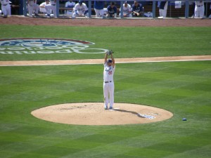Clayton Kershaw out of the stretch on Opening Day. Photo: Stacie Wheeler