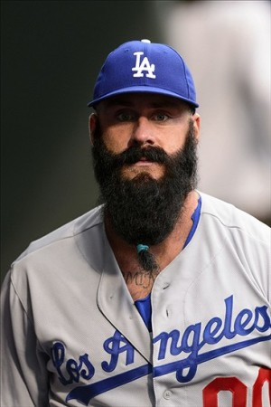This is what Bluebeard looks like in a Dodger uniform, he's ready tp help-Howard Smith-USA TODAY Sports