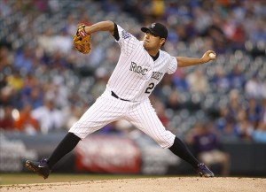 Jorge De La Rosa wins his 16th game. Photo: Chris Humphreys-USA TODAY Sports