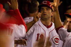 Joey Votto does the Dodgers in again by hitting a two-run homerun in game one. Photo: Rob Leifheit-USA TODAY Sports