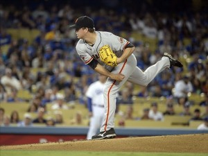 Matt Cain is a little more economical with his pitches than Greinke tonight, but he isn't involved in the decision. Photo: Richard Mackson-USA TODAY Sports