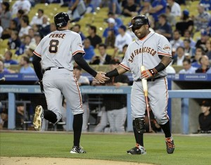 Hunter Pence hits a homerun against Greinke in the second inning. Photo: Richard Mackson-USA TODAY Sports