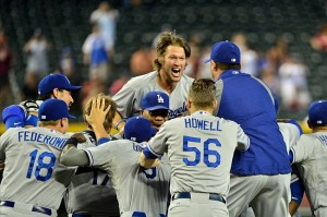 Clayton Kershaw celebrates after the Dodgers clinched on Thursday. Photo: Matt Kartozian-USA TODAY Sports