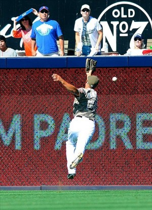 Will Venable misplays a fly ball hit by Michael Young. Photo: Christopher Hanewinckel-USA TODAY Sports