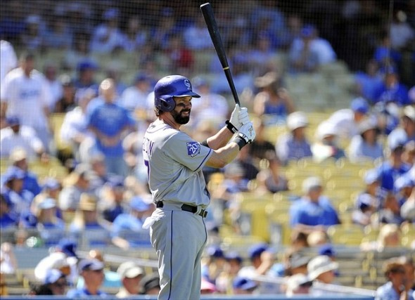 Helton went 1 for 4 in his final game-Gary A. Vasquez-USA TODAY Sports
