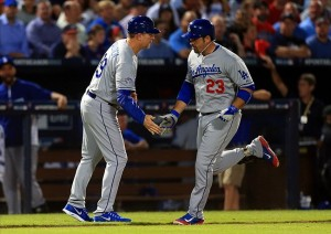 Adrian Gonzalez hits a two-run homerun in the third inning. Photo: Daniel Shirey-USA TODAY Sports