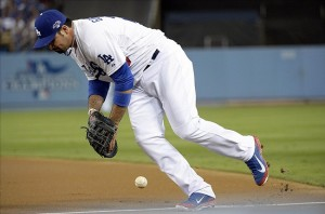 Adrian Gonzalez's pair of blunders almost cost the Dodgers the game. Photo: Richard Mackson-USA TODAY Sports