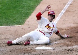 David Freese scores the only run of the game in the fifth inning. Photo: Rob Grabowski-USA TODAY Sports