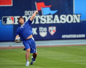 Hyun-jin Ryu only lasted 3 innings in his NLDS start. Photo: Jayne Kamin-Oncea-USA TODAY Sports