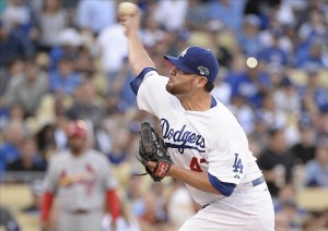Ricky Nolasco allows 3 runs in 4 innings of work in his first postseason start. Photo: Richard Mackson-USA TODAY Sports