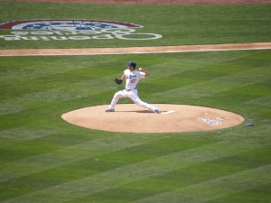 Clayton Kershaw pitches in the first inning of Opening Day 2013 at Dodger Stadium. Photo: Stacie Wheeler