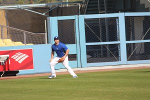Scott Schebler gets a taste of left field at Dodger Stadium during the Winter Development Program. Photo: Stacie Wheeler