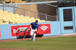 Outfielder Joc Pederson runs down a ball during the Winter Development Program workout on Wednesday. Photo: Stacie Wheeler