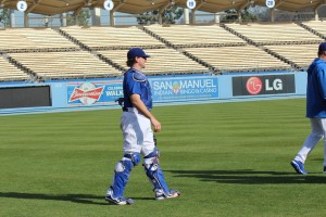 Chris O'Brien works out at Dodger Stadium on Wednesday. Photo: Stacie Wheeler
