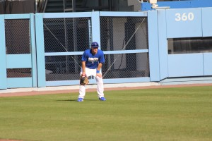 Top Dodgers prospect Joc Pederson waits for the ball during his workout. Photo: Stacie Wheeler