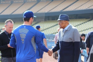 A special meeting between Zach Lee and Don Newcombe. Photo: Stacie Wheeler