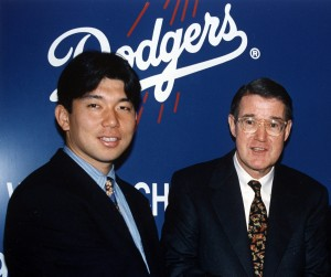 Hideo Nomo and Peter O'Malley in 1995. Photo: Los Angeles Dodgers/Jon SooHoo