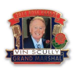 Commemorative 2014 Rose Parade pin featuring Vin Scully