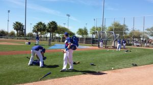 Some of the Dodgers workout before the game