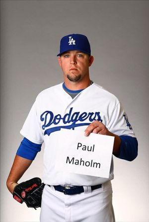 Los Angeles Dodgers pitcher Paul Maholm poses for a portrait during photo day at Camelback Ranch.-Mark J. Rebilas-USA TODAY Sports