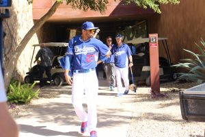 Matt Kemp heads to the backfields at Camelback Ranch during Spring Training. Photo: Stacie Wheeler
