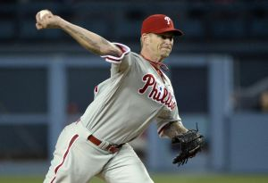 Apr 22, 2014; Los Angeles, CA, USA; Philadelphia Phillies starting pitcher A.J. Burnett throws a pitch against the Los Angeles Dodgers during the game at Dodger Stadium. Mandatory Credit: Richard Mackson-USA TODAY Sports