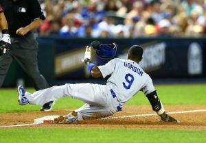 Gordon had a great game, stealing four bases-Mark J. Rebilas-USA TODAY Sports