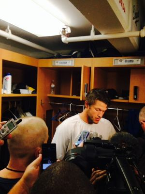 Clayton Kershaw speaks to the media after his first rehab start in Rancho Cucamonga. Photo: Mark Andes