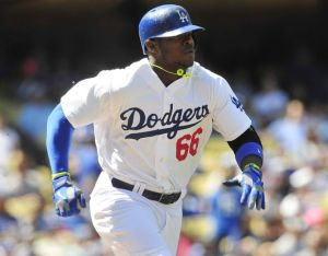 Puig was on time to the ball park today, the crowd goes wild-Gary A. Vasquez-USA TODAY Sports
