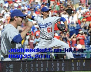 Josh Beckett pitches a no-hitter May 25, 2014 vs. Philadelphia.