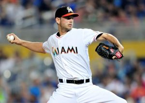 May 3, 2014; Miami, FL, USA; Miami Marlins starting pitcher Jacob Turner (33) throws during the first inning against the Los Angeles Dodgers at Marlins Ballpark. Mandatory Credit: Steve Mitchell-USA TODAY Sports