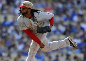 May 26, 2014; Los Angeles, CA, USA; Cincinnati Reds starting pitcher Johnny Cueto (47) pitches the first inning against the Los Angeles Dodgers at Dodger Stadium. Mandatory Credit: Gary A. Vasquez-USA TODAY Sports
