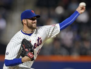 May 22, 2014; New York, NY, USA; New York Mets starting pitcher Jonathon Niese (49) pitches against the Los Angeles Dodgers during the fourth inning at Citi Field. Mandatory Credit: Adam Hunger-USA TODAY Sports