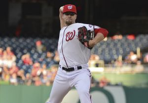 May 6, 2014; Washington, DC, USA; Washington Nationals relief pitcher Blake Treinen (64) pitches during the first inning against the Los Angeles Dodgers at Nationals Park. Mandatory Credit: Tommy Gilligan-USA TODAY Sports