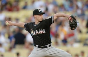 May 14, 2014; Los Angeles, CA, USA; Miami Marlins starting pitcher Anthony DeSclafani (28) in the first inning of the game against the Los Angeles Dodgers at Dodger Stadium. Mandatory Credit: Jayne Kamin-Oncea-USA TODAY Sports