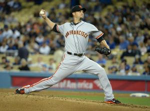 May 8, 2014; Los Angeles, CA, USA; San Francisco Giants starter Ryan Vogelsong (32) delivers a pitch against the Los Angeles Dodgers at Dodger Stadium. Mandatory Credit: Kirby Lee-USA TODAY Sports