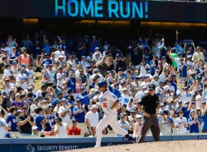 Jun 29, 2014; Los Angeles, CA, USA; Los Angeles Dodgers center fielder Andre Ethier (16) rounds 3rd base heading for home plate after hitting a 3-run home run in the 5th inning against the St. Louis Cardinals at Dodger Stadium. Mandatory Credit: Robert Hanashiro-USA TODAY Sports