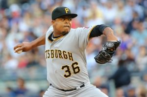 Volquez's hat is very sideways- Anthony Gruppuso-USA TODAY Sports