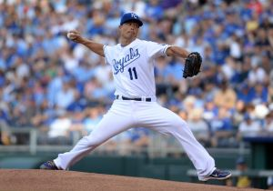 Jun 23, 2014; Kansas City, MO, USA; Kansas City Royals starting pitcher Jeremy Guthrie (11) delivers a pitch during the first inning against the Los Angeles Dodgers at Kauffman Stadium. Mandatory Credit: Denny Medley-USA TODAY Sports