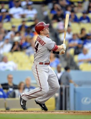 June 14, 2014; Los Angeles, CA, USA; Arizona Diamondbacks first baseman Paul Goldschmidt (44) hits a two run home run in the first inning against the Los Angeles Dodgers at Dodger Stadium. Mandatory Credit: Gary A. Vasquez-USA TODAY Sports
