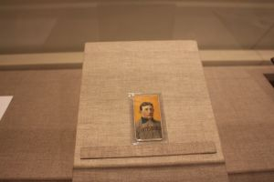 A rare Honus Wagner baseball card is on display at the Ronald Reagan Presidential Library. Photo: Stacie Wheeler