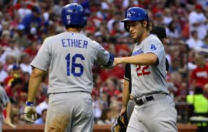Jul 20, 2014; St. Louis, MO, USA; Los Angeles Dodgers starting pitcher Clayton Kershaw (22) is congratulated by right fielder Andre Ethier (16) after scoring during the third inning against the St. Louis Cardinals at Busch Stadium. Mandatory Credit: Jeff Curry-USA TODAY Sports