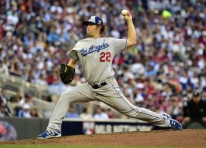 Jul 15, 2014; Minneapolis, MN, USA; National League pitcher Clayton Kershaw (22) of the Los Angeles Dodgers throws a pitch in the second inning during the 2014 MLB All Star Game at Target Field. Mandatory Credit: Scott Rovak-USA TODAY Sports