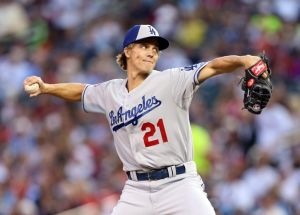 Jul 15, 2014; Minneapolis, MN, USA; National League pitcher Zack Greinke (21) of the Los Angeles Dodgers throws a pitch in the fourth inning during the 2014 MLB All Star Game at Target Field. Mandatory Credit: Jesse Johnson-USA TODAY Sports