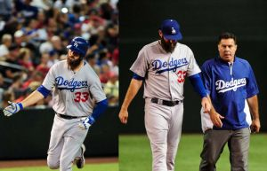 Scott Van Slyke homers and is injured in the same game.