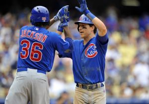August 3, 2014; Los Angeles, CA, USA; Chicago Cubs left fielder Chris Coghlan (8) is congratulated by starting pitcher Edwin Jackson (36) after hitting a two run home run in the fifth inning against the Los Angeles Dodgers at Dodger Stadium. Mandatory Credit: Gary A. Vasquez-USA TODAY Sports